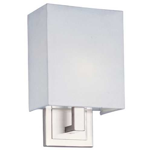 ET2 Lighting Modern Sconce Wall Light with White Shade in Satin Nickel Finish E21090-01SN