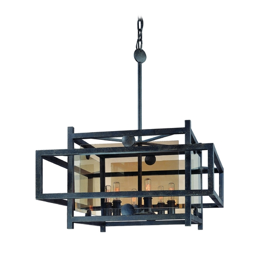 Troy Lighting Pendant Light with Clear Cage Shades in French Iron Finish F2496FI