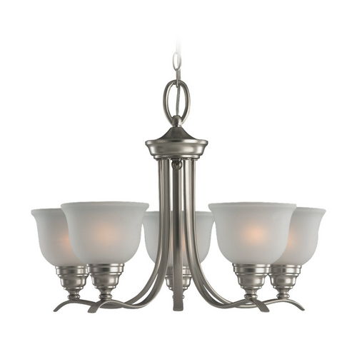 Sea Gull Lighting Chandelier with White Glass in Brushed Nickel Finish 31626-962