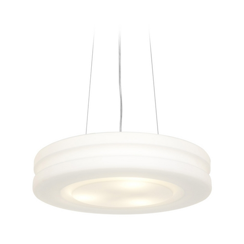 Access Lighting Modern Drum Pendant Light with White Glass in Brushed Steel Finish 50191-BS/OPL