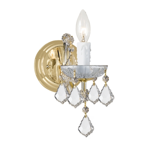 Crystorama Lighting Crystal Sconce Wall Light in Gold Finish 4471-GD-CL-SAQ