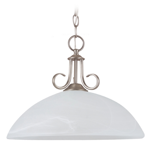 Sea Gull Lighting Pendant Light with Alabaster Glass in Antique Brushed Nickel Finish 65316-965