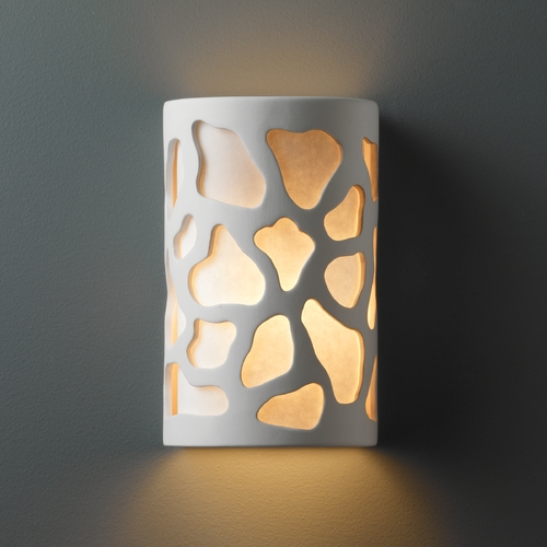 Justice Design Group Sconce Wall Light with White in Bisque Finish CER-5455-BIS