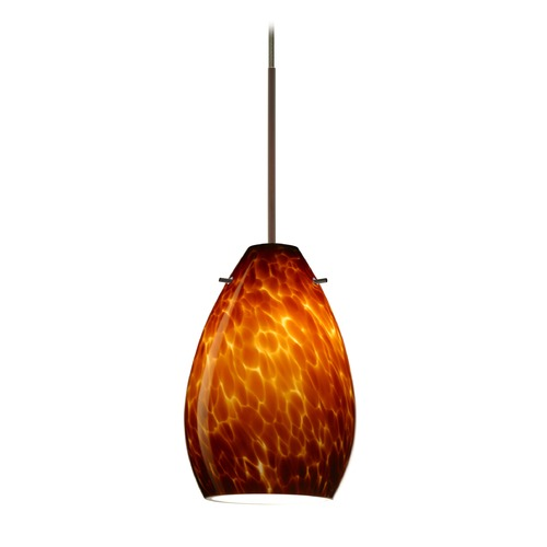Besa Lighting Besa Lighting Pera Bronze LED Mini-Pendant Light with Oblong Shade 1XT-171318-LED-BR