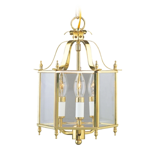 Livex Lighting Livex Lighting Livingston Polished Brass Pendant Light with Hexagon Shade 4403-02