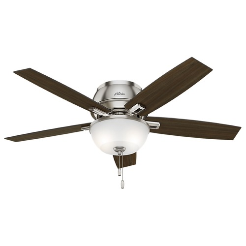 Hunter Fan Company 52-Inch Hunter Fan Donegan Low Profile Brushed Nickel LED Ceiling Fan with Light 53344
