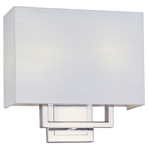 ET2 Lighting Modern Sconce Wall Light with White Shades in Satin Nickel Finish E21091-01SN