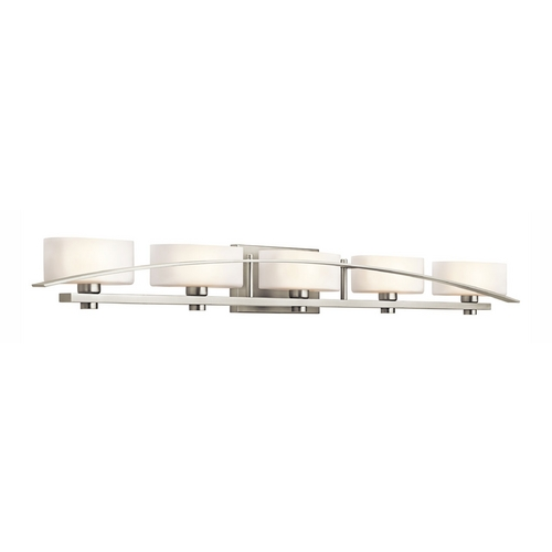 Kichler Lighting Kichler Brushed Nickel Modern Bathroom Light with White Glass 45319NI
