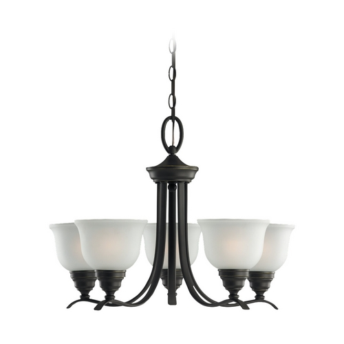Sea Gull Lighting Chandelier with White Glass in Heirloom Bronze Finish 31626BLE-782