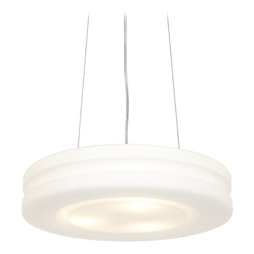 Access Lighting Modern Drum Pendant Light with White Glass in Brushed Steel Finish 50190-BS/OPL