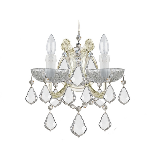 Crystorama Lighting Crystal Sconce Wall Light in Gold Finish 4472-GD-CL-MWP