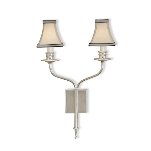 Currey and Company Lighting Plug-In Wall Lamp with White Shade in Contemporary Silver Leaf Finish 5106