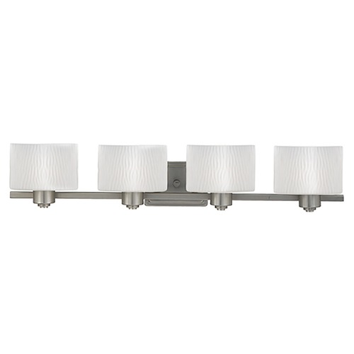 Quoizel Lighting Four-Light Bathroom Light with Ripple Glass PF8604ES