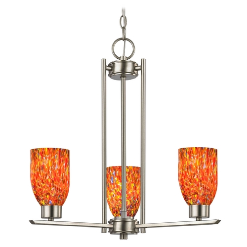 Design Classics Lighting Chandelier with Art Glass in Satin Nickel Finish - 3-Lights 1121-1-09 GL1012D