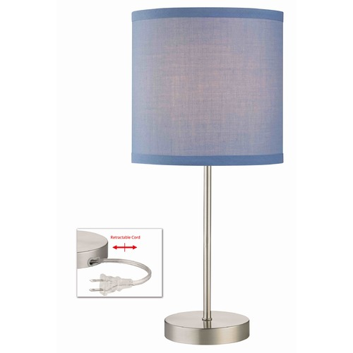 Design Classics Lighting Satin Nickel Table Lamp with Blue Linen Drum Shade 1904-09 SH9526