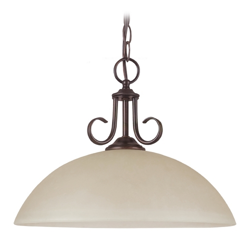 Sea Gull Lighting Pendant Light with Beige / Cream Glass in Burnt Sienna Finish 65316BLE-710