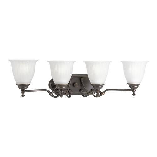 Progress Lighting Progress Bathroom Light with White Glass in Forged Bronze Finish P2732-77