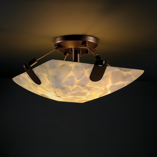 Justice Design Group Justice Design Group Alabaster Rocks! Collection Semi-Flushmount Light ALR-9610-25-DBRZ