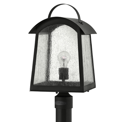 Hinkley Lighting Post Light with White Glass in Black Finish 2651BK