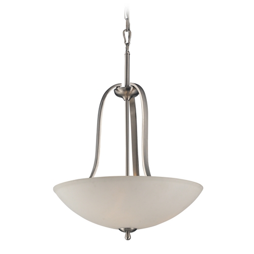 Elk Lighting LED Pendant Light with White Glass in Brushed Nickel Finish 17142/3-LED