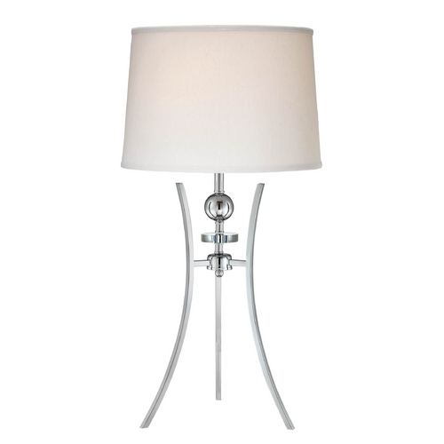 Lite Source Lighting Lite Source Lighting Triocof Chrome Table Lamp with Drum Shade LS-22096C/WHT
