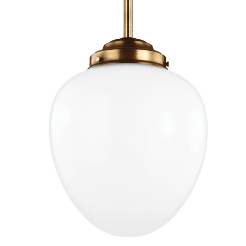 Feiss Lighting Feiss Alcott Aged Brass Pendant Light with Oval Shade P1400AGB