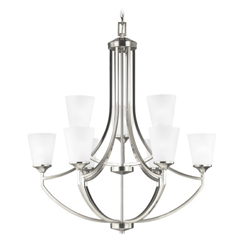 Sea Gull Lighting Sea Gull Lighting Hanford 2-Tier 9-Light Chandelier in Brushed Nickel 3124509-962