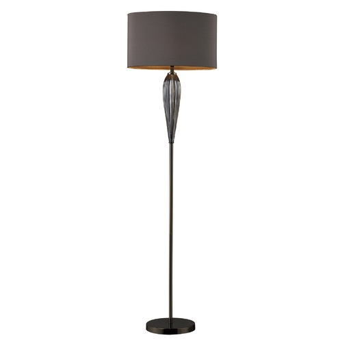 Elk Lighting Modern Floor Lamp with Grey Shade in Steel Smoked and Black Nickel Finish D1598