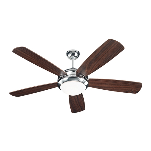 Monte Carlo Fans Modern Ceiling Fan with Light with White Glass in Polished Nickel Finish 5DI52PND