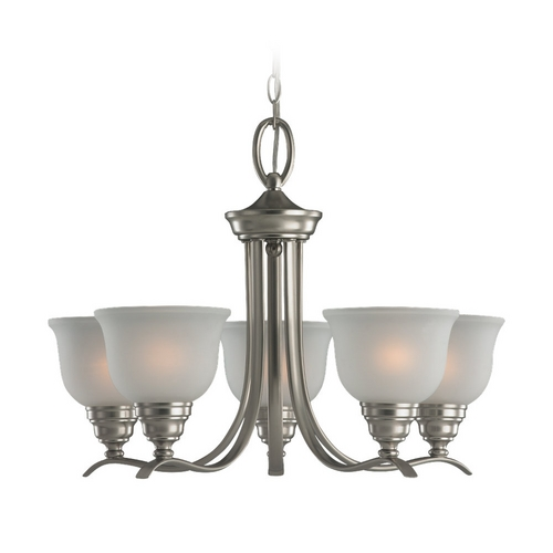 Sea Gull Lighting Chandelier with White Glass in Brushed Nickel Finish 31626BLE-962