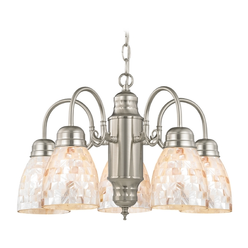 Design Classics Lighting Mini-Chandelier with Mosaic Glass in Satin Nickel Finish 709-09 GL1026MB