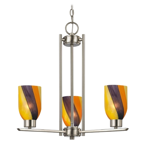 Design Classics Lighting Chandelier with Art Glass in Satin Nickel Finish - 3-Lights 1121-1-09 GL1015D
