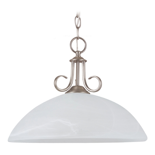 Sea Gull Lighting Pendant Light with Alabaster Glass in Antique Brushed Nickel Finish 65316BLE-965