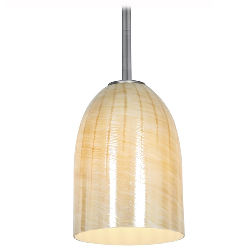 Access Lighting Access Lighting Julia Inari Silk Brushed Steel Mini-Pendant Light 28018-1R-BS/WAMB