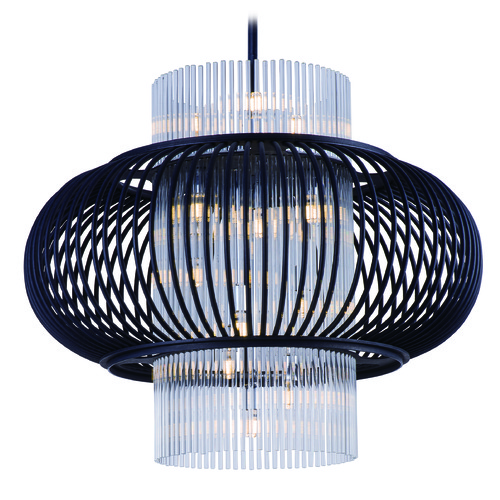 Maxim Lighting Maxim Lighting Aviary Anthracite LED Pendant Light with Oval Shade 38387CLAR