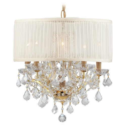 Crystorama Lighting Crystorama Lighting Brentwood Gold Pendant Light with Drum Shade 4415-GD-SAW-CLM