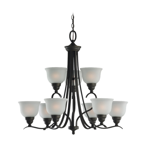 Sea Gull Lighting Chandelier with White Glass in Heirloom Bronze Finish 31627-782