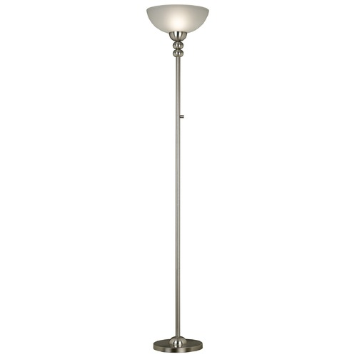 Kenroy Home Lighting Modern Torchiere Lamp with White Glass in Brushed Steel Finish 20969BS