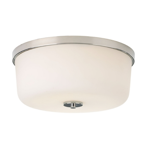 Progress Lighting Progress Polished Nickel Flushmount Ceiling Light with Etched Glass P3970-104