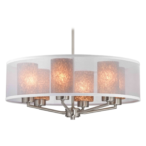 Design Classics Lighting Palatine Fuse Art Glass Satin Nickel Pendant Light with Cylinder Glass 1725-09 GL1016C