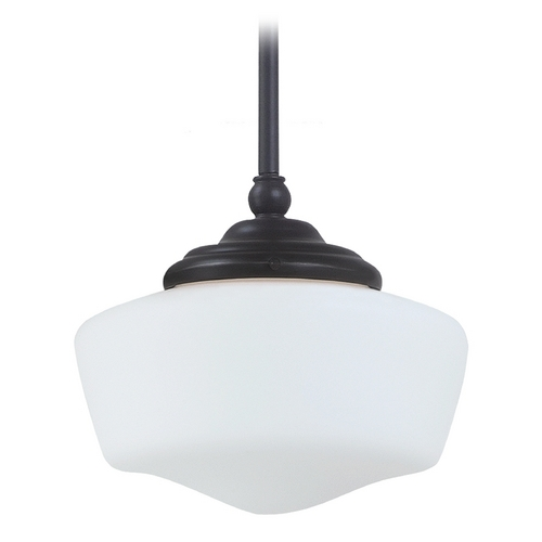 Sea Gull Lighting Schoolhouse Mini-Pendant with White Glass in Heirloom Bronze Finish 65436-782