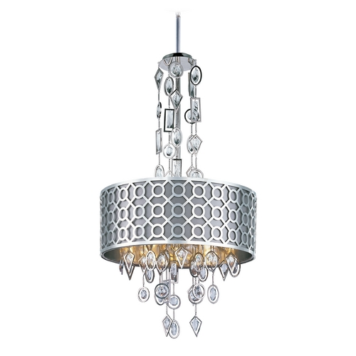 Maxim Lighting Crystal Drum Pendant Light with Grey Shade in Polished Nickel Finish 22384STPN