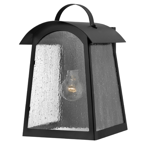 Hinkley Lighting Outdoor Wall Light with White Glass in Black Finish 2654BK