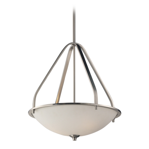 Elk Lighting LED Pendant Light with White Glass in Brushed Nickel Finish 17144/3-LED