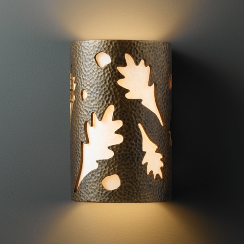 Justice Design Group Sconce Wall Light with White in Hammered Brass Finish CER-5475-HMBR