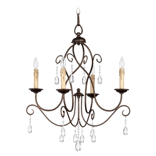 Quorum Lighting Quorum Lighting Cilia Oiled Bronze Crystal Chandelier 6116-4-86