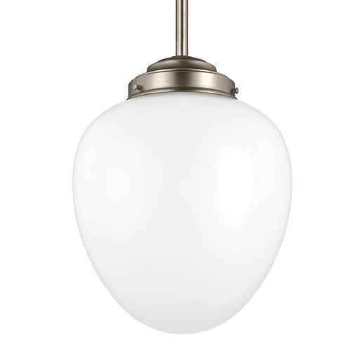 Feiss Lighting Feiss Alcott Satin Nickel Pendant Light with Oval Shade P1400SN
