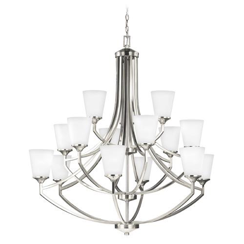 Sea Gull Lighting Sea Gull Lighting Hanford 3-Tier 15-Light Chandelier in Brushed Nickel 3124515-962