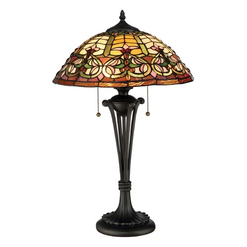 Quoizel Lighting Quoizel Lighting Tiffany Dark Bronze Table Lamp with Bowl / Dome Shade TF2582T