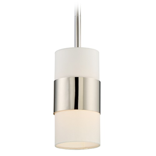 Crystorama Lighting Crystorama Lighting Grayson Polished Nickel Mini-Pendant Light with Cylindrical Shade 290-PN